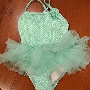 Mint polka dot bathing suit